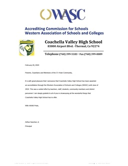 Accrediting Commission for Schools Western Association of Schools and Colleges