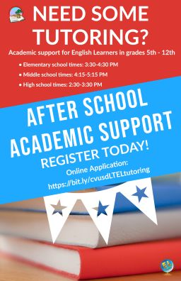 Our Online Academic Support for ELs After School Tutoring Program will begin October 12, 2020. This distance learning tutoring program is for students in grades 5th -12th. Sign up today! https://bit.ly/cvusdLTELtutoring